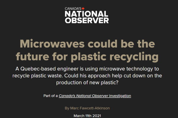 National Observer Article: Microwaves could be the future for plastic recycling