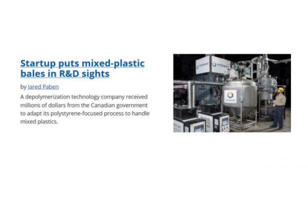 Pyrowave dans le magasine Plastic Recycling Update/Resource-recycling (en anglais seulement)