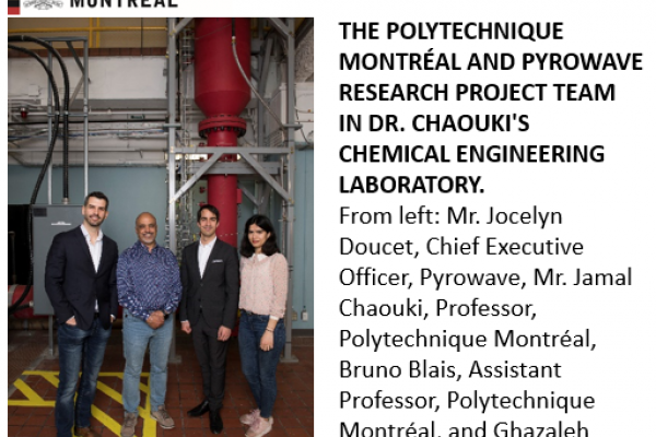 A PYROWAVE-POLYTECHNIQUE MONTRÉAL PARTNERSHIP AS PART OF A RESEARCH PROJECT FOR THE ELECTRIFICATION OF CHEMICAL PROCESSES THROUGH MICROWAVES